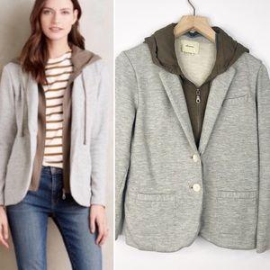 Anthro Elevenses Layered Hooded Jacket Blazer